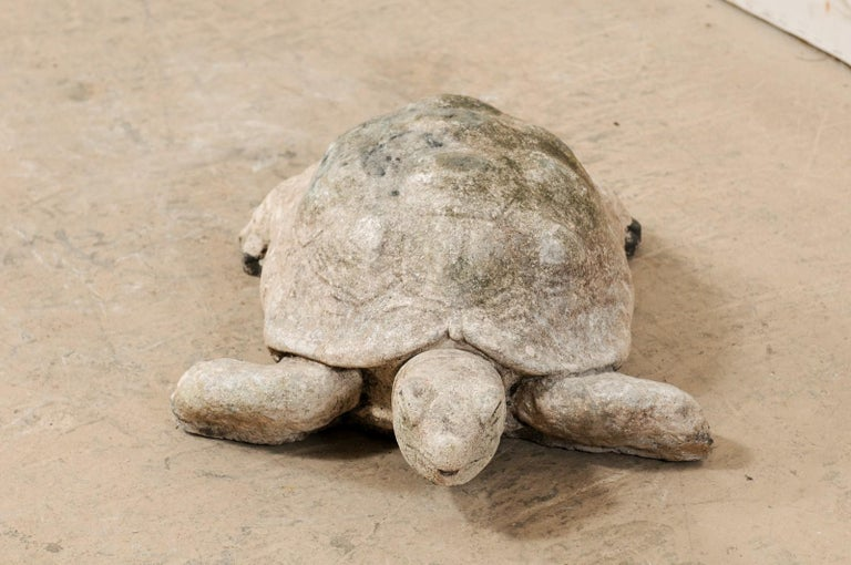 This American large-sized box turtle, from the early to mid-20th century, longs to find his way into your garden! He is made of hand-cast stone, nearly 2.5 feet in length, with wonderful attention to detail, and a soulful face. There is a small