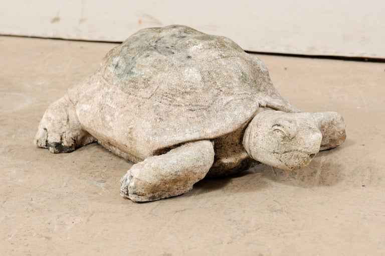 American Large Hand-Cast Stone Box Turtle Garden Sculpture For Sale