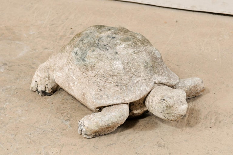 Hand-Crafted Large Hand-Cast Stone Box Turtle Garden Sculpture For Sale