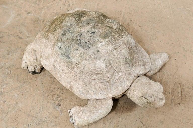 20th Century Large Hand-Cast Stone Box Turtle Garden Sculpture For Sale