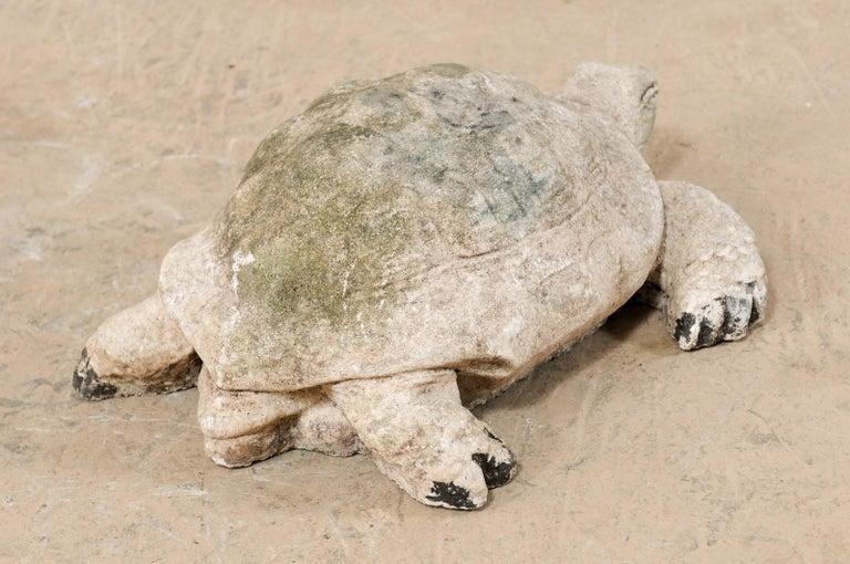 Large Hand-Cast Stone Box Turtle Garden Sculpture For Sale 1