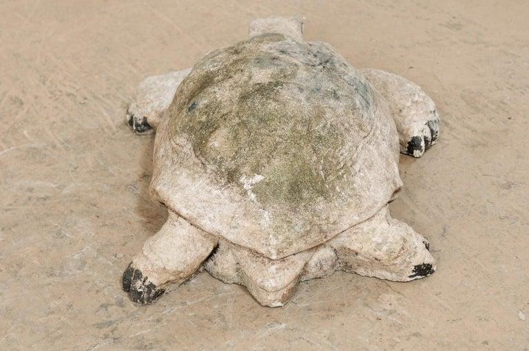 Large Hand-Cast Stone Box Turtle Garden Sculpture For Sale 2