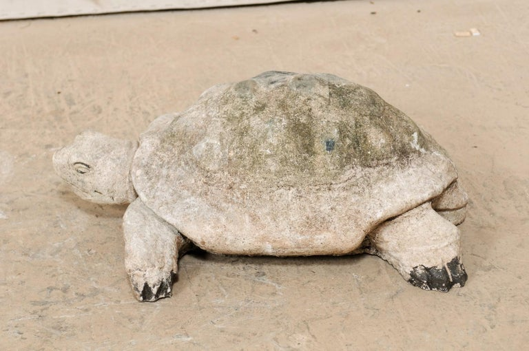 Large Hand-Cast Stone Box Turtle Garden Sculpture For Sale 3
