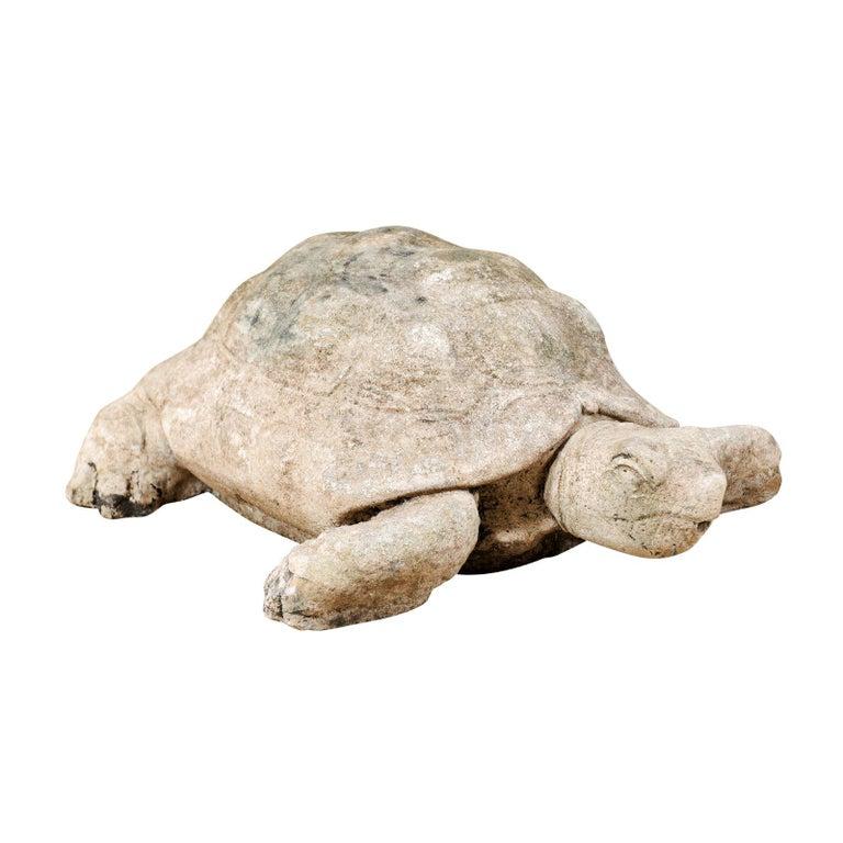 Large Hand-Cast Stone Box Turtle Garden Sculpture For Sale