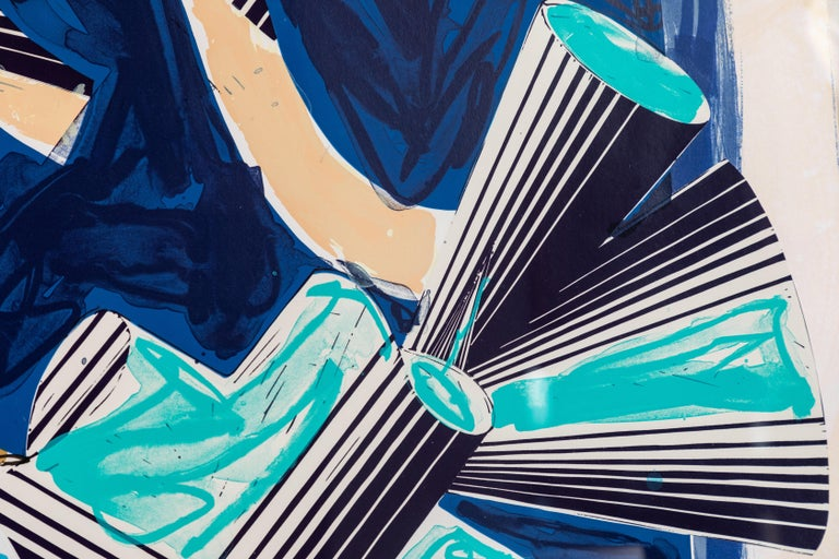 A vibrant, signed dated and numbered, mixed media print by the iconic, American artist, Frank Stella: lithograph, linocut, and screen-print in colors with hand-coloring and collage, on wove paper collage by iconic. Titled