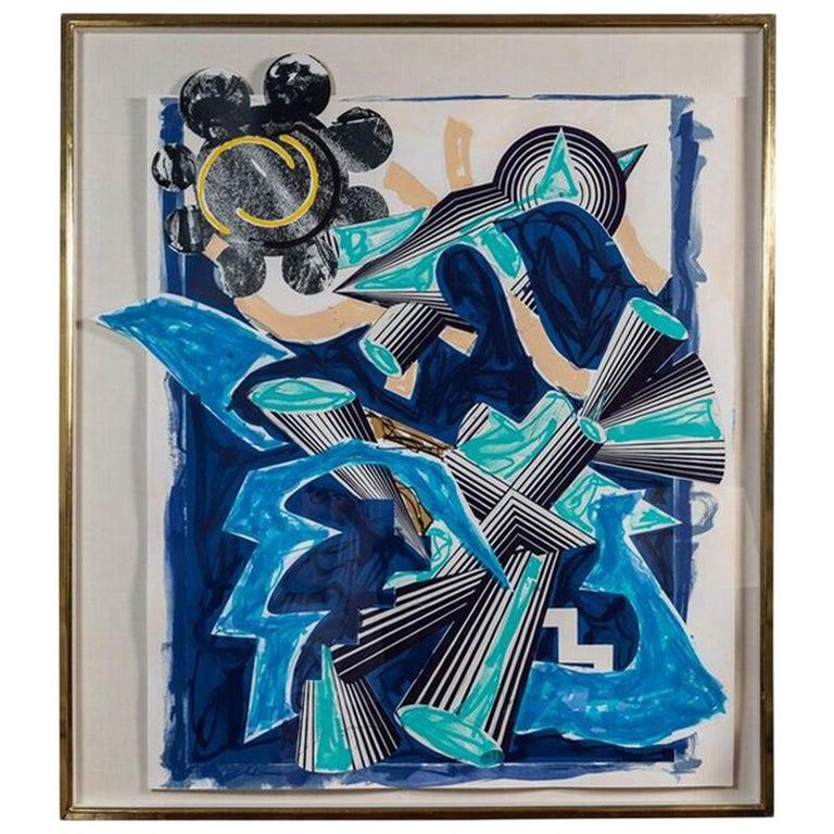Large, Hand-Colored, Frank Stella 3-d print For Sale