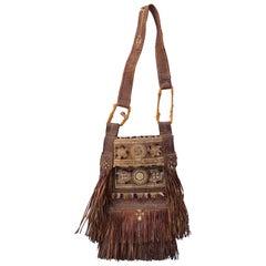 Large Hand-Crafted Leather Tribal Tuareg Berber Sahara Bag