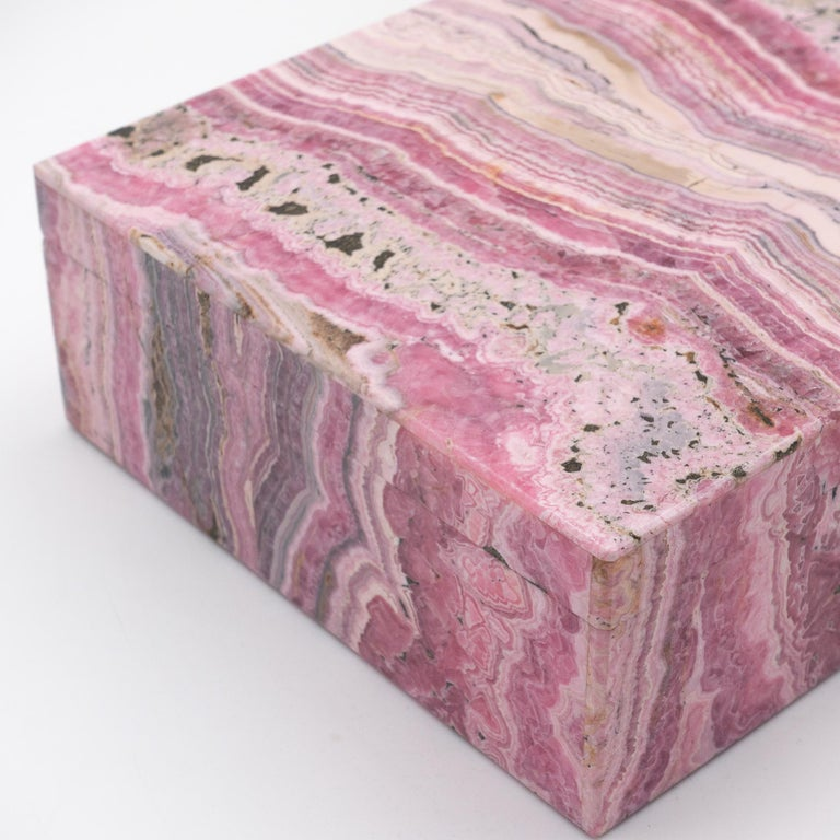 Large Handcrafted Rhodochrosite Hinged Box In Excellent Condition For Sale In New York, NY