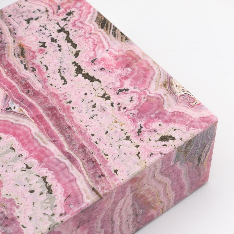 Contemporary Large Handcrafted Rhodochrosite Hinged Box For Sale