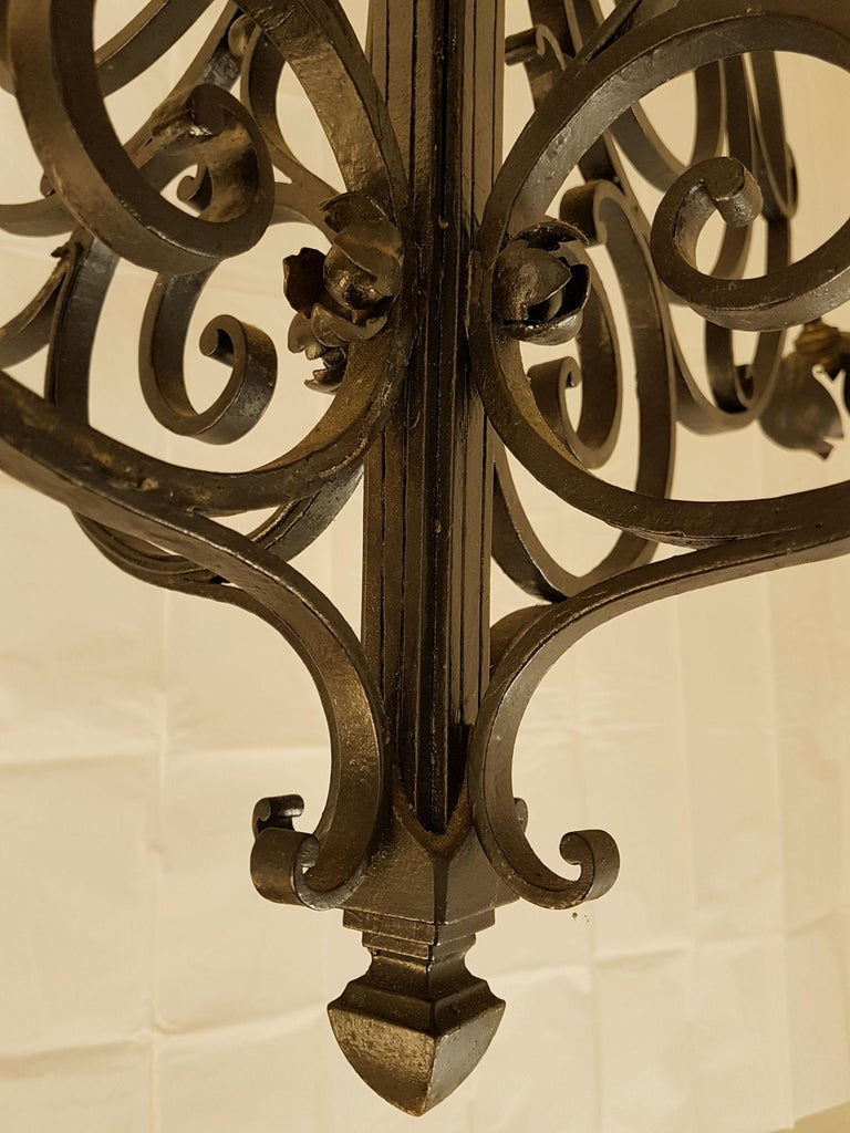 Large Hand Crafted Wrought Iron Signed Chandelier, France 1920s For Sale 3