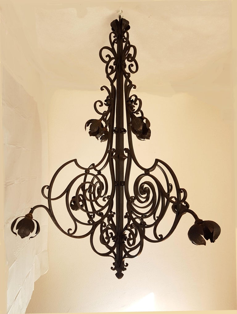 Extra large wrought iron chandelier, France, circa 1920s.