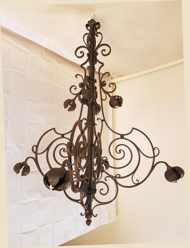Spanish Colonial Large Hand Crafted Wrought Iron Signed Chandelier, France 1920s For Sale