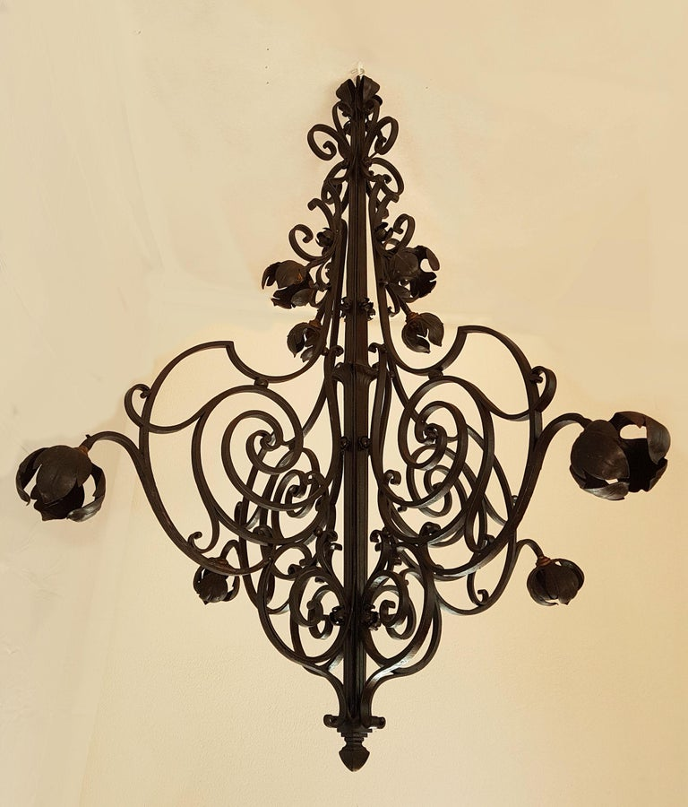 French Large Hand Crafted Wrought Iron Signed Chandelier, France 1920s For Sale