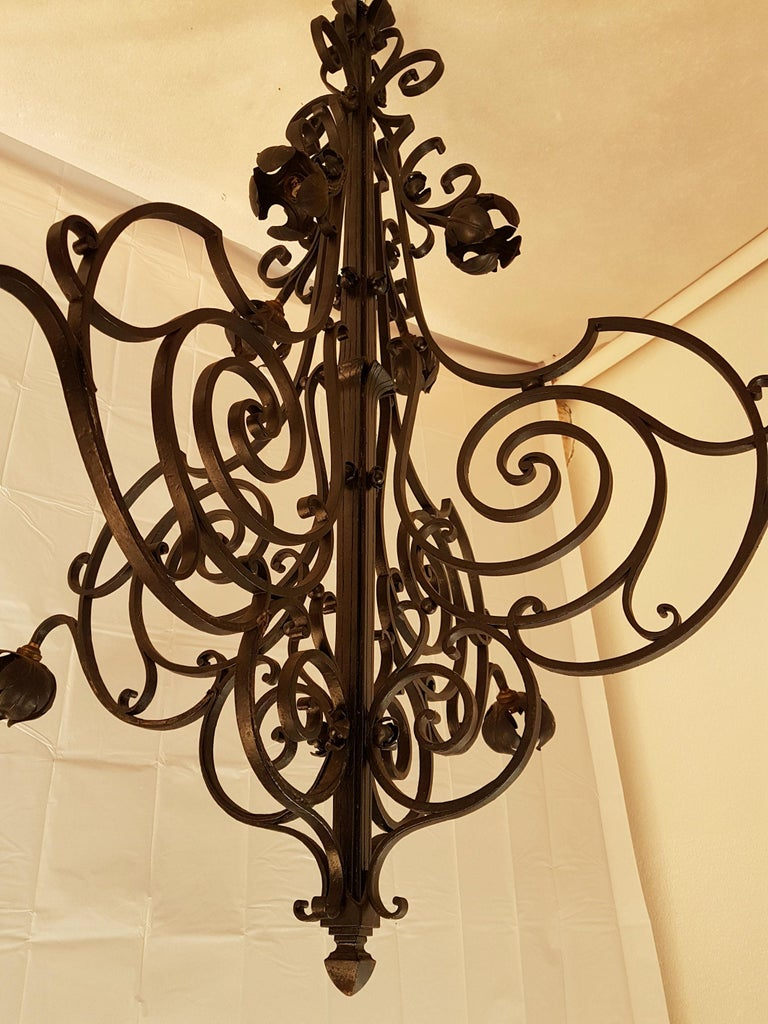 Hand-Crafted Large Hand Crafted Wrought Iron Signed Chandelier, France 1920s For Sale