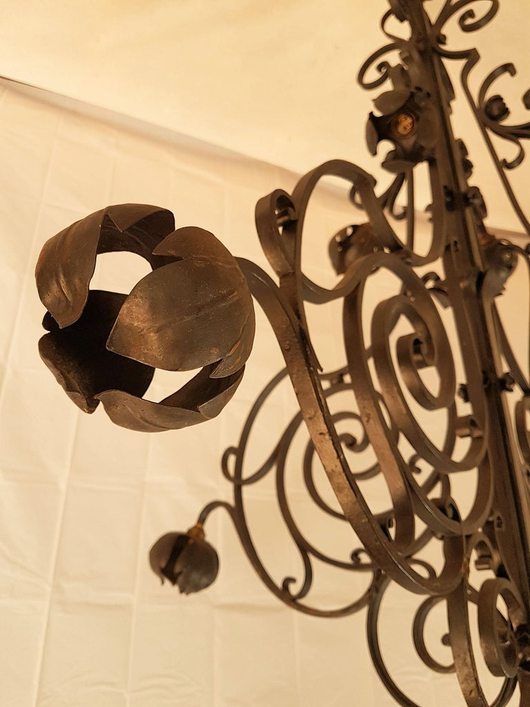 Early 20th Century Large Hand Crafted Wrought Iron Signed Chandelier, France 1920s For Sale