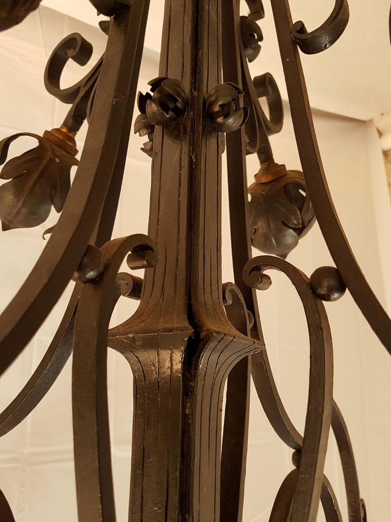 Large Hand Crafted Wrought Iron Signed Chandelier, France 1920s For Sale 1
