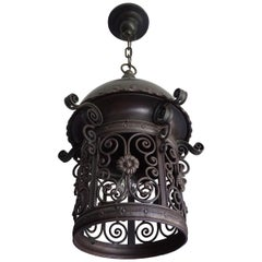 Large Hand Forged Wrought Iron & Cast Iron Moorish Pendant Light / Hall Lantern