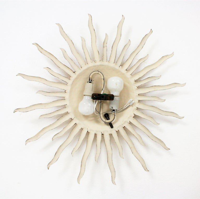 Large Hand-Hammered Gilt Iron Sunburst Flush Mount Light Fixture, Spain, 1960s For Sale 5