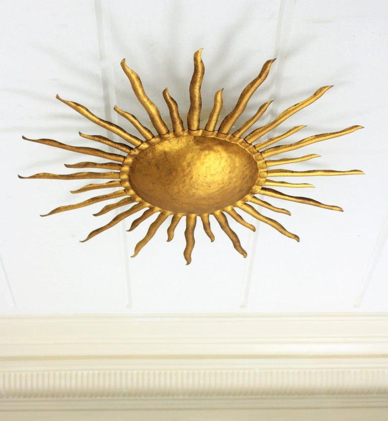 Brutalist Large Hand-Hammered Gilt Iron Sunburst Flush Mount Light Fixture, Spain, 1960s For Sale
