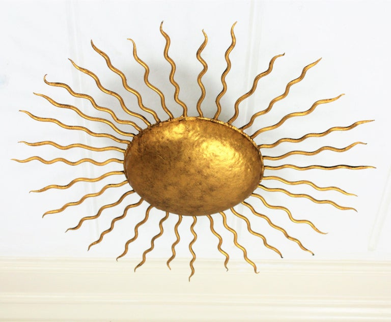 Large Hand-Hammered Gilt Iron Sunburst Flush Mount or Wall Light, Spain, 1950s In Excellent Condition In Barcelona, ES
