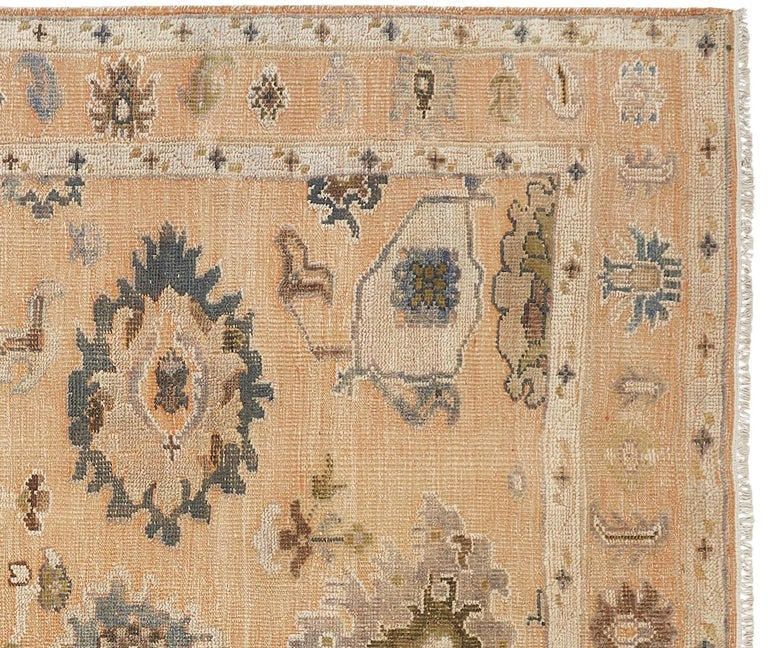 Indian Large Hand Knotted Rug Contemporary in Style of Oushak Light Salmon For Sale