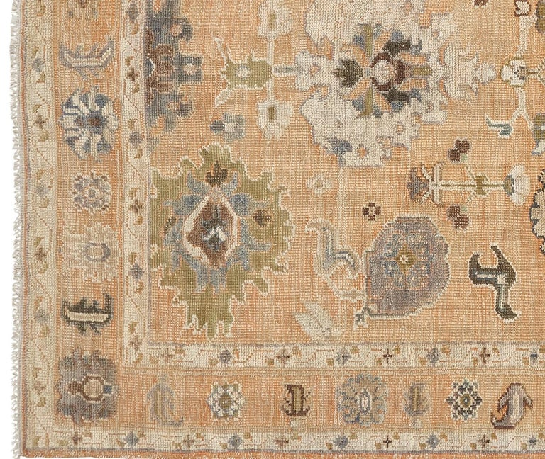 Hand-Woven Large Hand Knotted Rug Contemporary in Style of Oushak Light Salmon For Sale