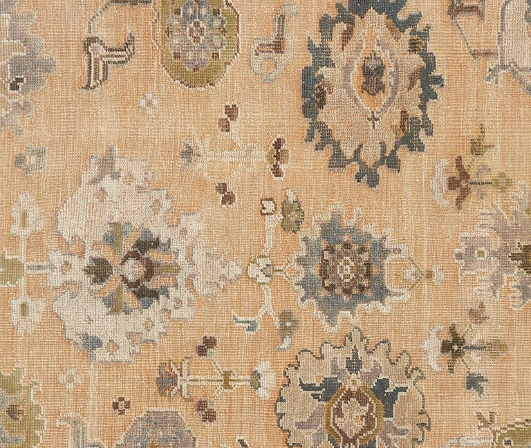 Wool Large Hand Knotted Rug Contemporary in Style of Oushak Light Salmon For Sale
