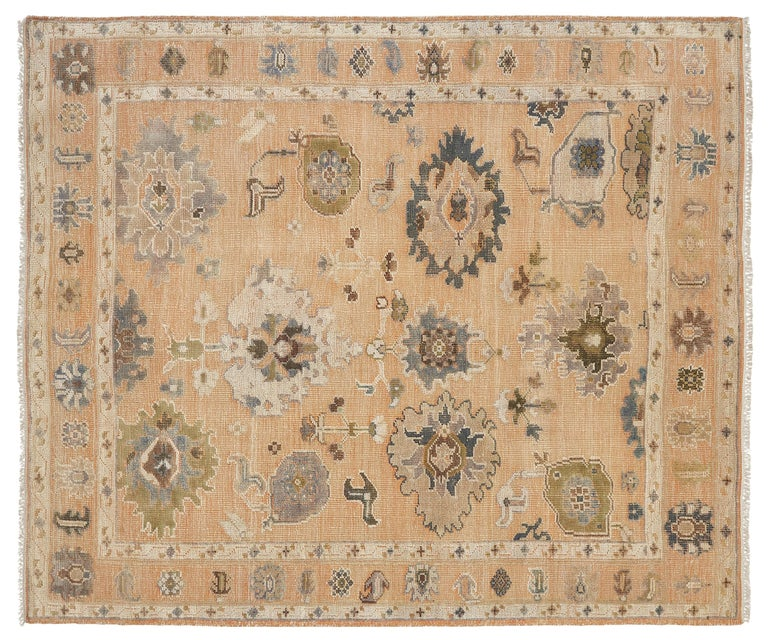 Large Hand Knotted Rug Contemporary in Style of Oushak Light Salmon For Sale 1