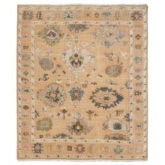 Large Hand Knotted Rug Contemporary in Style of Oushak Light Salmon