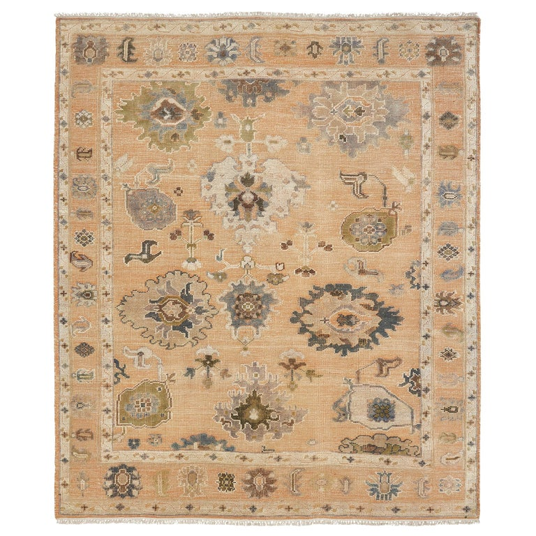 Large Hand Knotted Rug Contemporary in Style of Oushak Light Salmon For Sale