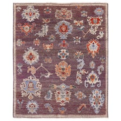 Large Hand Knotted Rug Contemporary in Style of Oushak Puple Blue Kilim