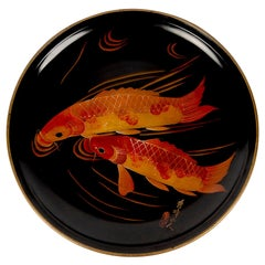 Large Hand Painted Black Lacquered Japanese Plate