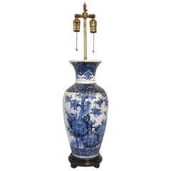 Large Hand Painted Blue and White Earthenware Vase as a Table Lamp