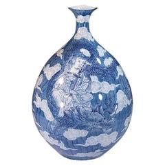 Large Hand Painted Blue Porcelain Vase by Japanese Master Artist