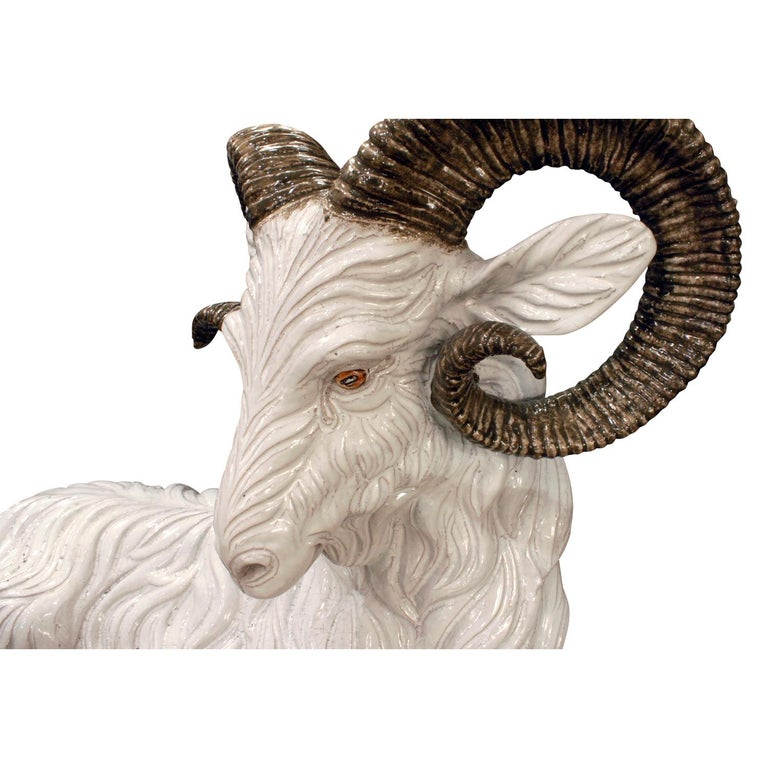 Large Hand Painted Ceramic Goat, 1950s, Signed In Excellent Condition For Sale In New York, NY