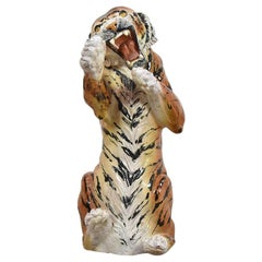 Large Hand Painted Glazed Ceramic Sculpture of a Tiger, Italy, 1970s