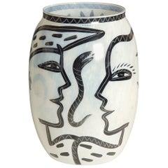 Large Hand-Painted Kosta Boda Vase by Ulrica Hydman-Vallien