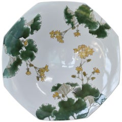 Large Green Yellow Porcelain Charger by Japanese Master Artist