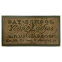 Large Hand Painted Trade Sign for Ladies Education, Early 19th Century
