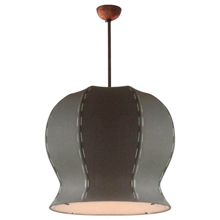 Large Hand-Stitched Linen and Solid Brass Tulip 620 Pendant Lamp by Wende Reid For Sale