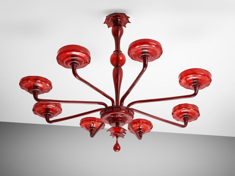 Italian Large Hand Blown Chandelier in Red Murano Glass For Sale