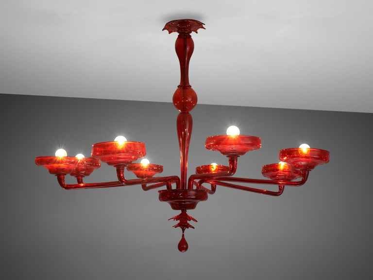 Late 20th Century Large Hand Blown Chandelier in Red Murano Glass For Sale