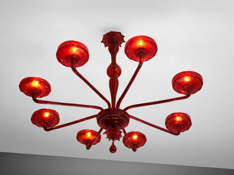 Large Hand Blown Chandelier in Red Murano Glass For Sale 2
