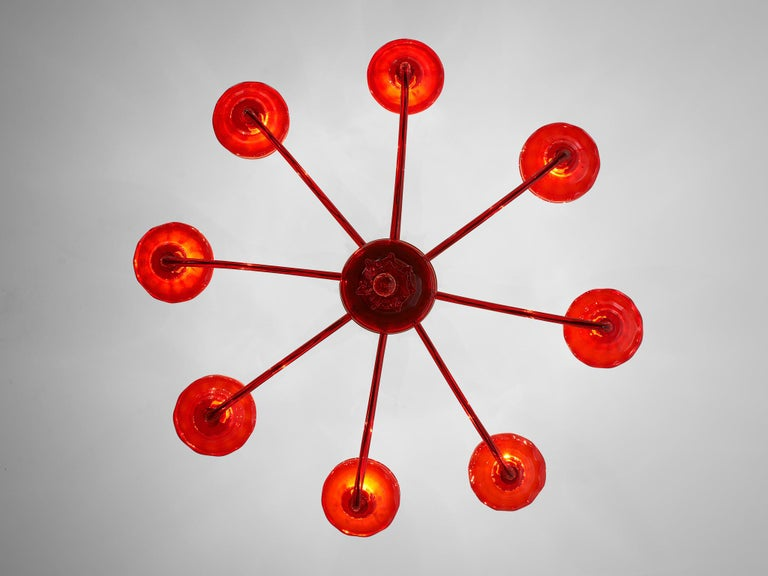 Large Hand Blown Chandelier in Red Murano Glass For Sale 3