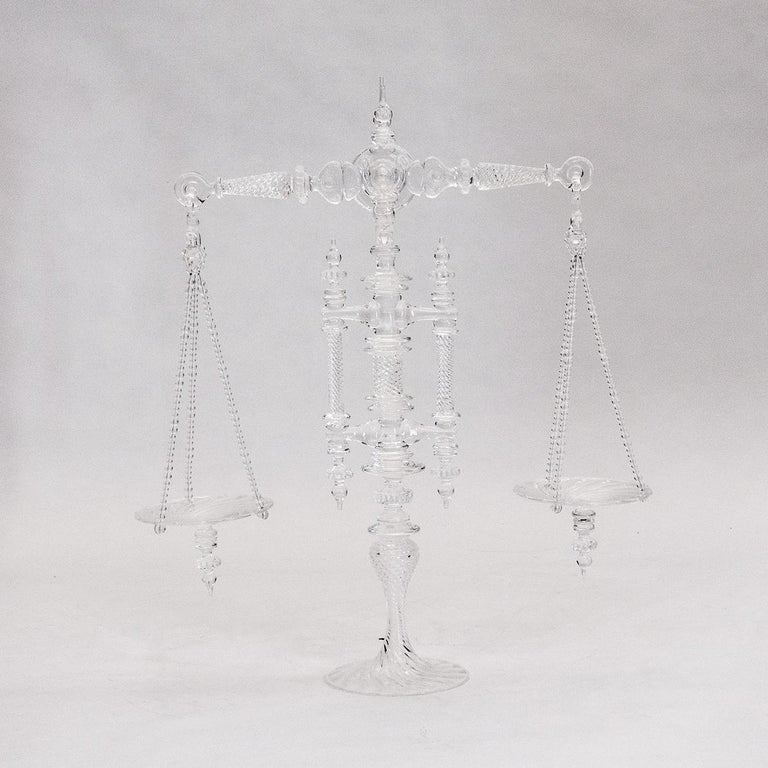 Victorian Large Hand Blown Clear Glass Balance Scale For Sale