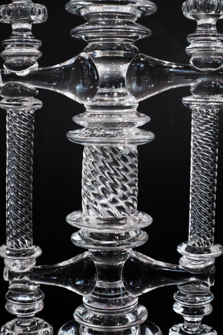 Large Hand Blown Clear Glass Balance Scale In New Condition For Sale In New York, NY