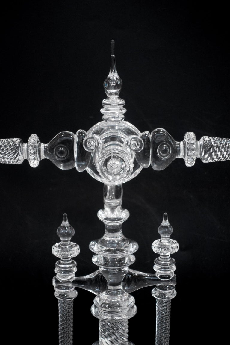 Blown Glass Large Hand Blown Clear Glass Balance Scale For Sale