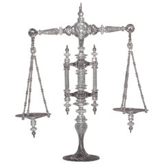 Large Handblown Clear Glass Balance Scale