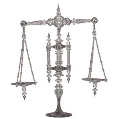 Large Hand Blown Clear Glass Balance Scale