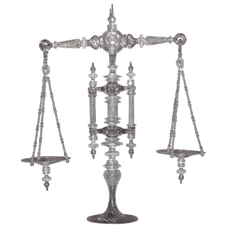 Large Hand Blown Clear Glass Balance Scale For Sale